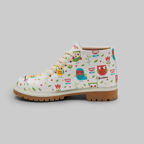 [mumka] Colorful Owls Beige Shortboots