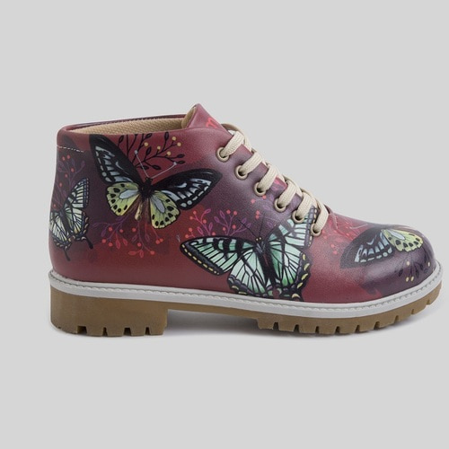 [mumka] Butterflies in Garnet Shortboots
